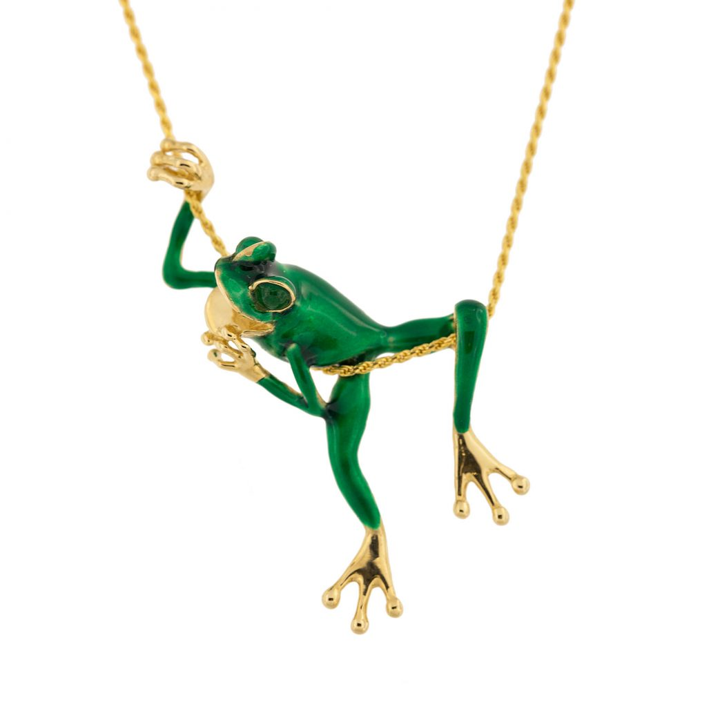 enamel in green with gold frog pendant jewelry
