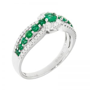 emerald band ring with diamonds