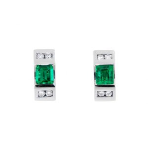 white gold emerald stud earrings with diamonds
