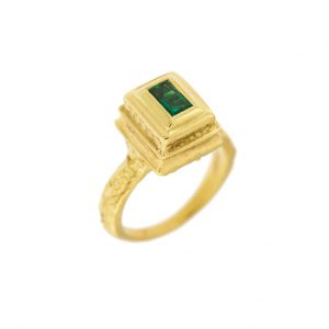 18k green gold emerald ring by mdg