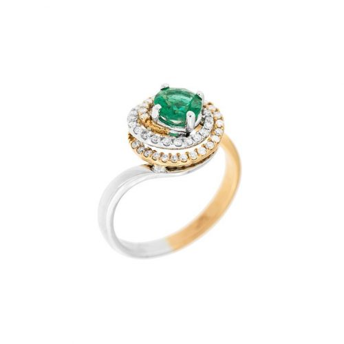 emerald and diamond halo ring set in white and rose gold
