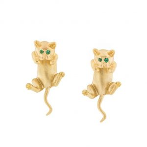 cat earring with emerald eyes