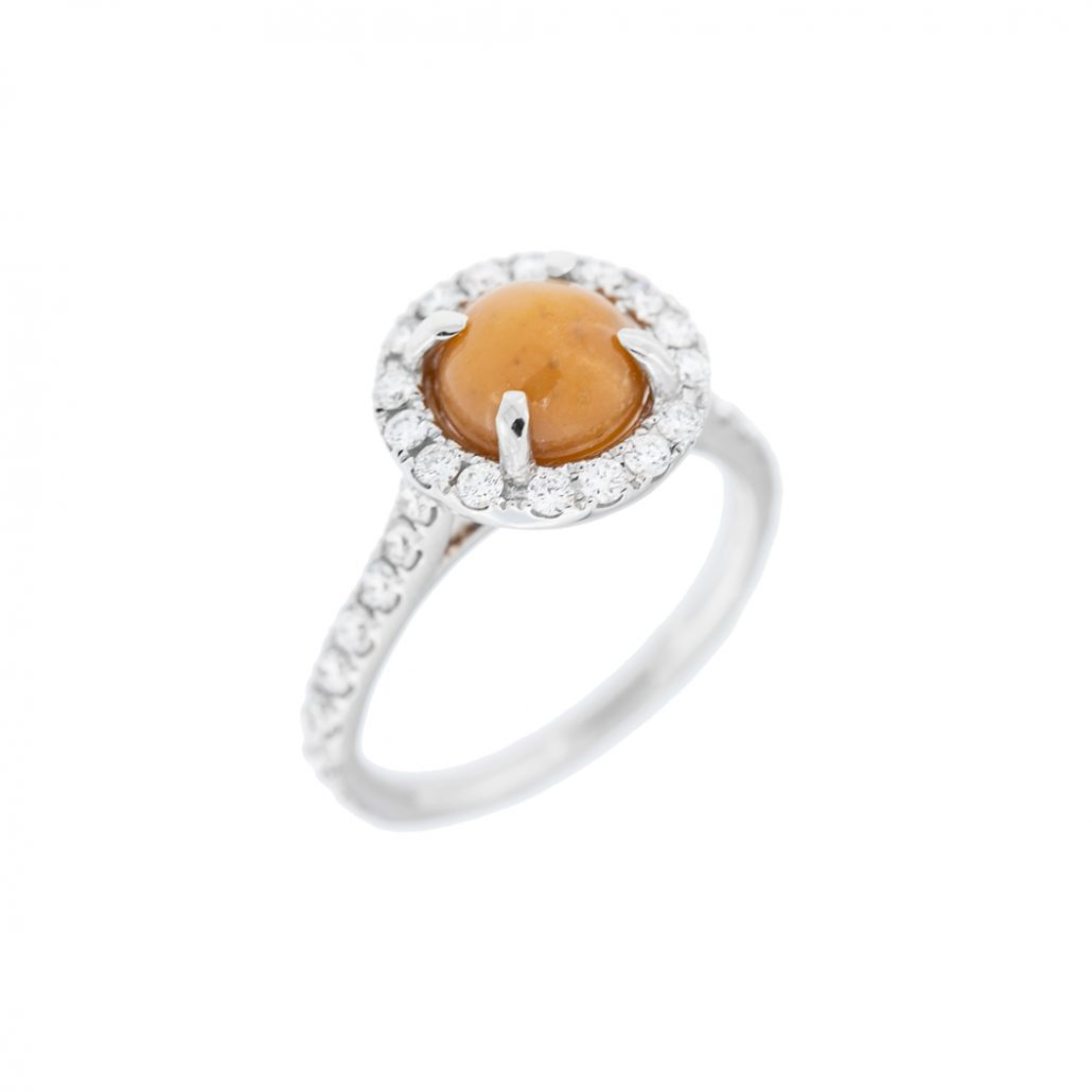 conch pearl ring in white gold