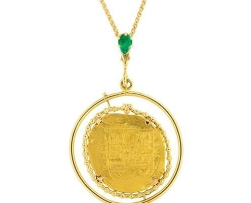 gold chain with a 1715 spanish eight escudo coin pendant by marcial de gomar