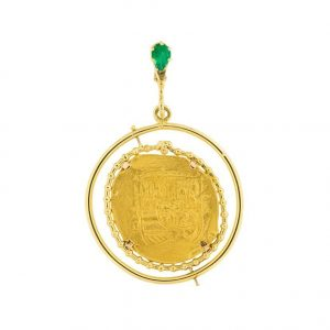1715 eight escudo coin pendant by marcial de gomar