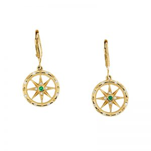 yellow gold compass earrings with round emerald