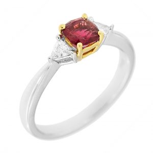 red beryl and diamond ring set in white and yellow gold