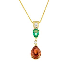 Oregon sunstone, emerald and diamond pendant set in yellow gold