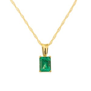 emerald cut large emerald pendant in yellow gold