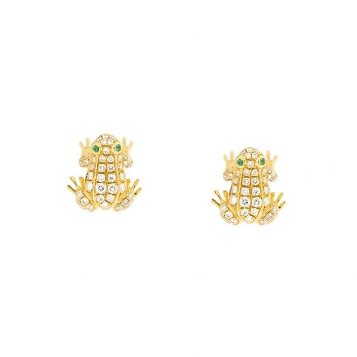 emerald and diamond frog earrings in yellow gold