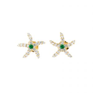 starfish emerald and diamond earrings in yellow gold