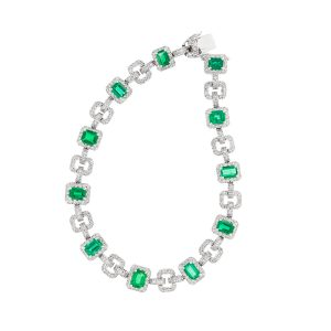 emerald and diamond bracelet in white gold