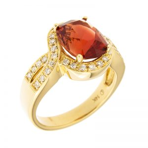 sunstone and diamond ring set in yellow gold