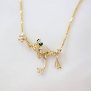 Small Gold Frog Pendant