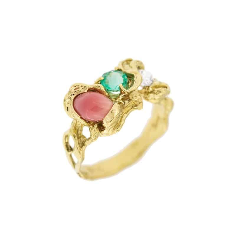 conch pearl emerald and diamond ring
