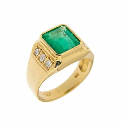 Mens Bezel Set Emerald Ring