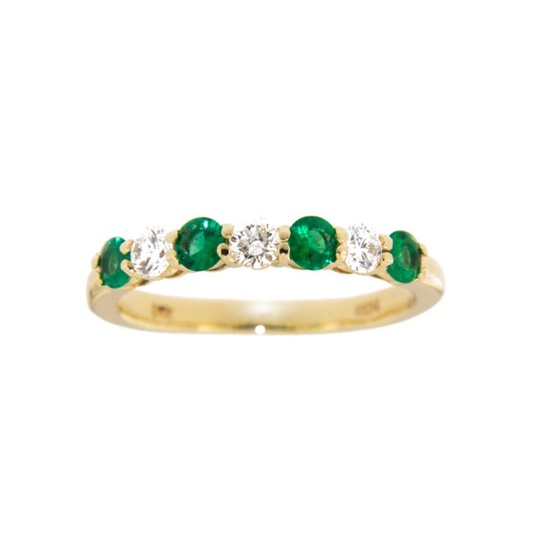 7 Stone Emerald and Diamond Wedding Band front view.
