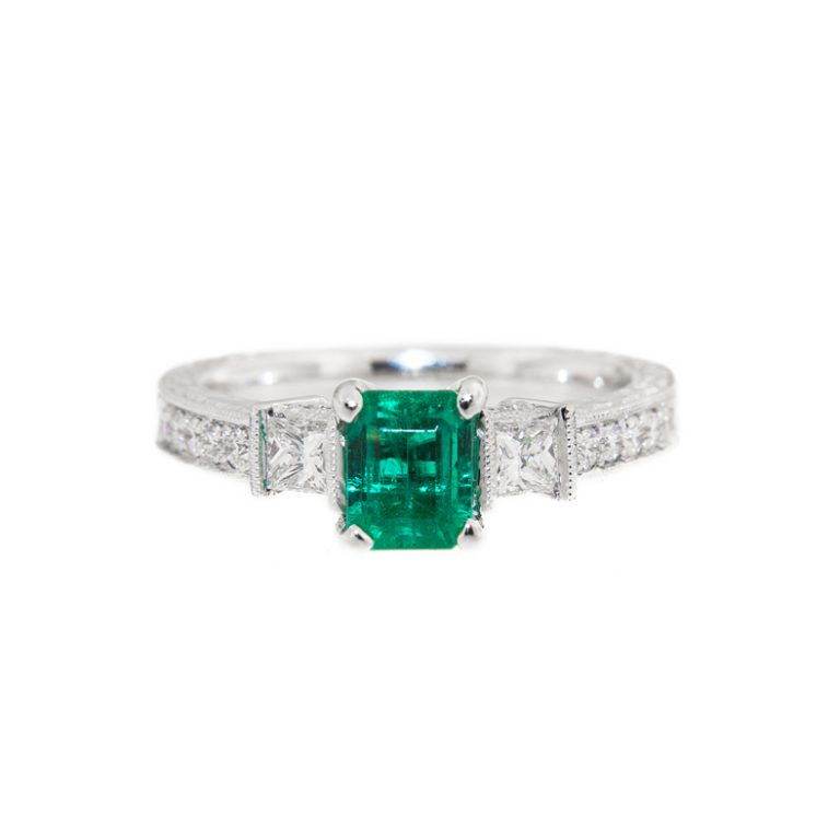 Elegant Emerald Engagement Ring front view.