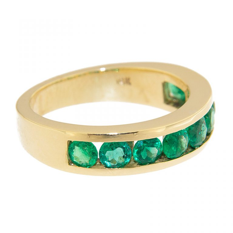 9 Stone All Emerald Ring side view.