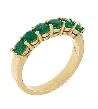 6 Stone Emerald Wedding Band