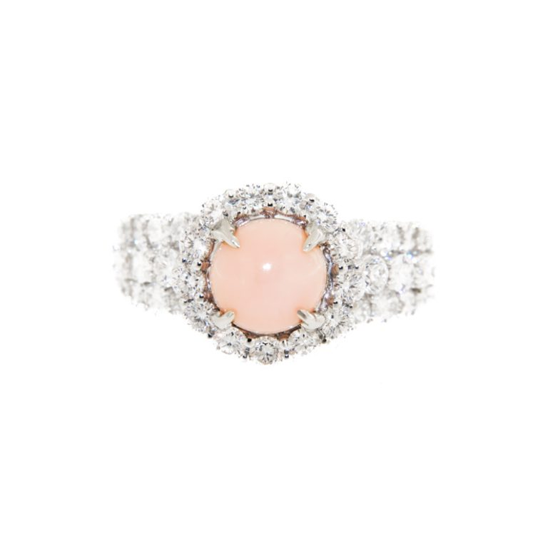 Diamond and Conch Pearl Halo Ring front view.