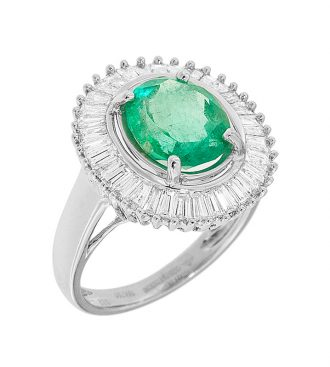 Emerald Halo Style Engagement Ring