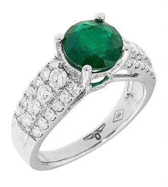 Round Cut Colombian Emerald Ring