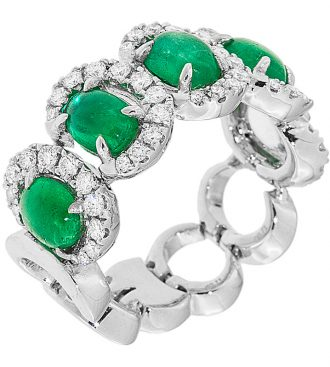 Cabochon Emerald Ring in 18KT White Gold