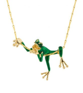 frog pendant with emerald eyes on a gold chain
