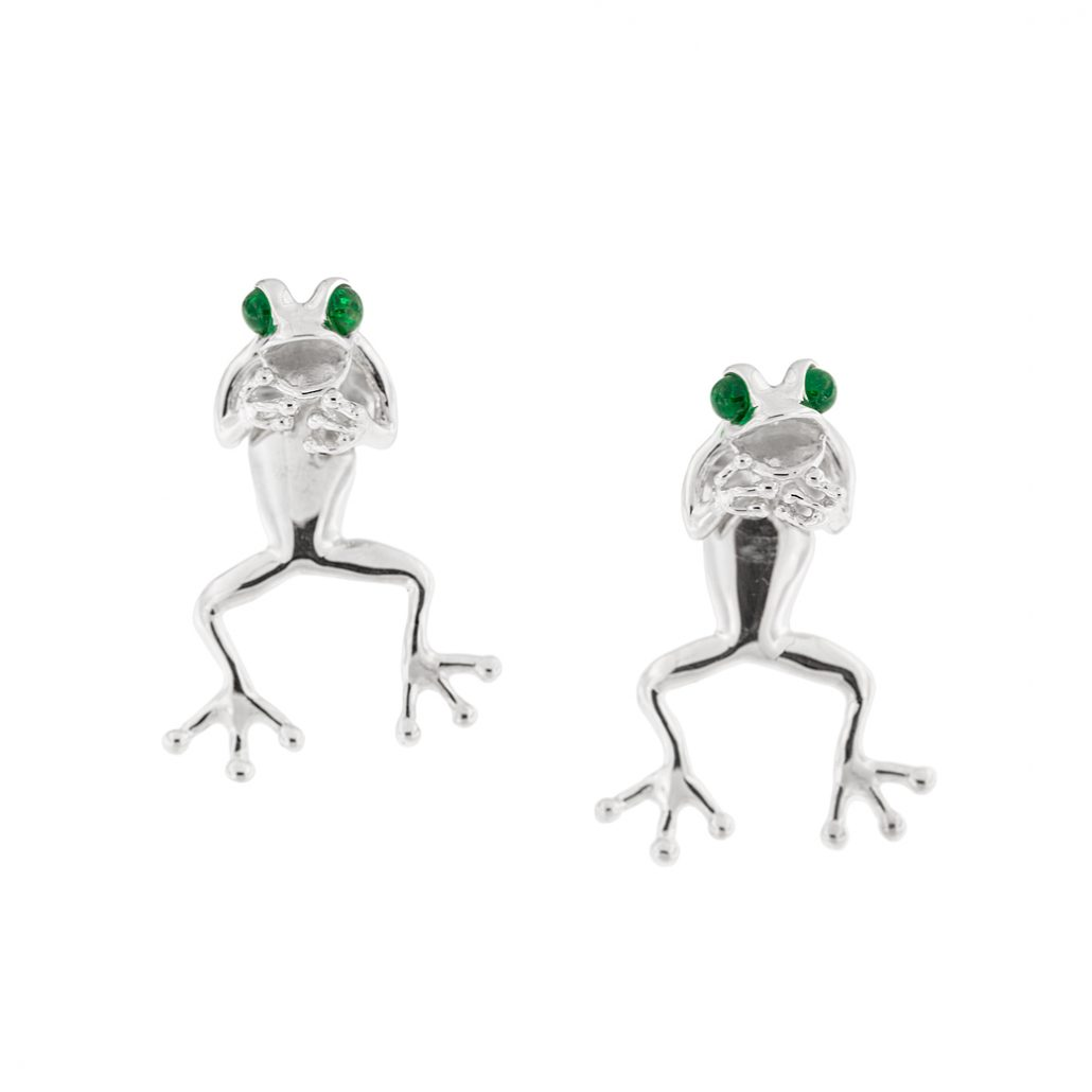frog earring with emerald eyes