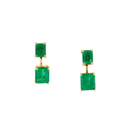 two stone emerald cut earrings