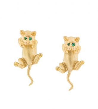 Gold Hanging Kitten Earrings