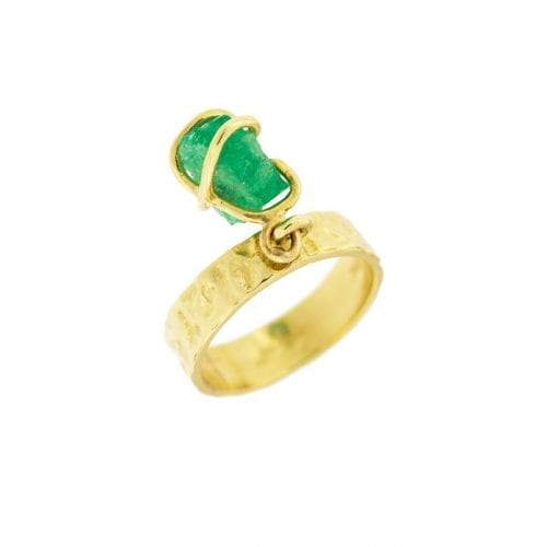 rough emerald ring by MDG