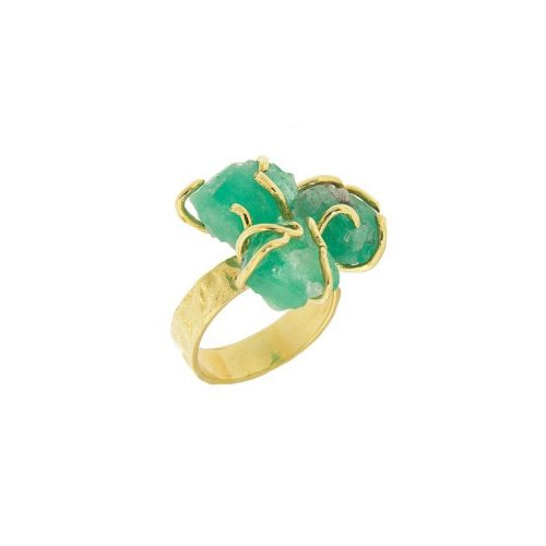 three rough emerald ring by MDG