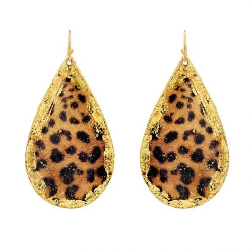 leopard teardrop earrings by evocateur