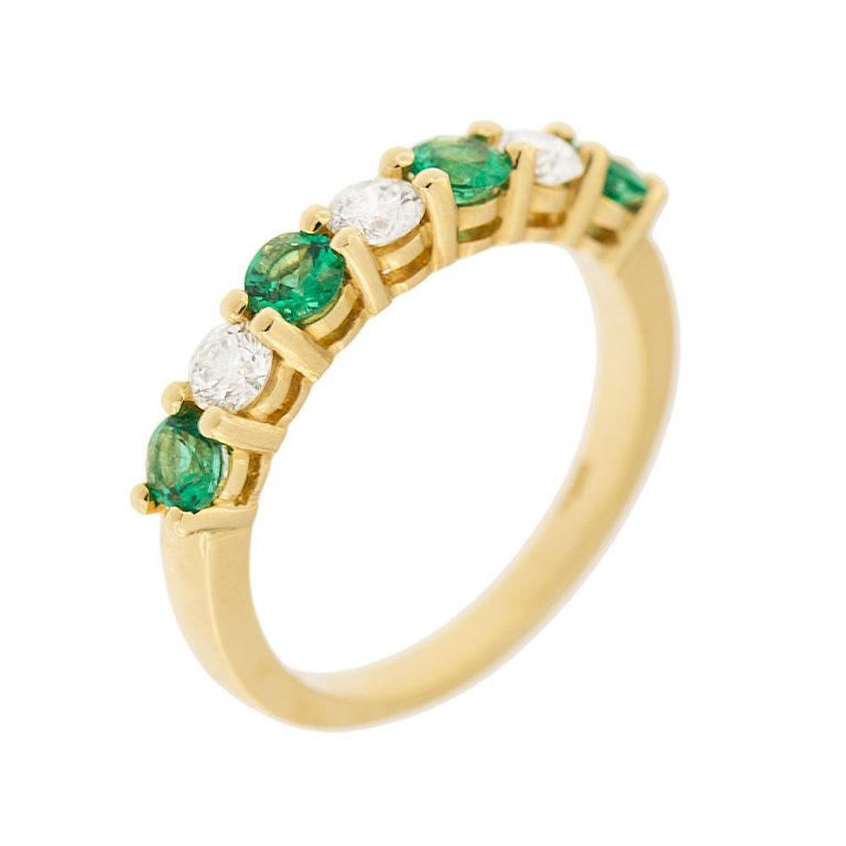 Alternating Shared Prong Emerald and Diamond Band Ring