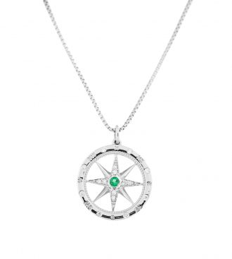 White Gold Compass Rose Pendant on a white gold chain.