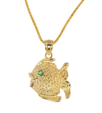 Fish Pendant on a chain, front view.