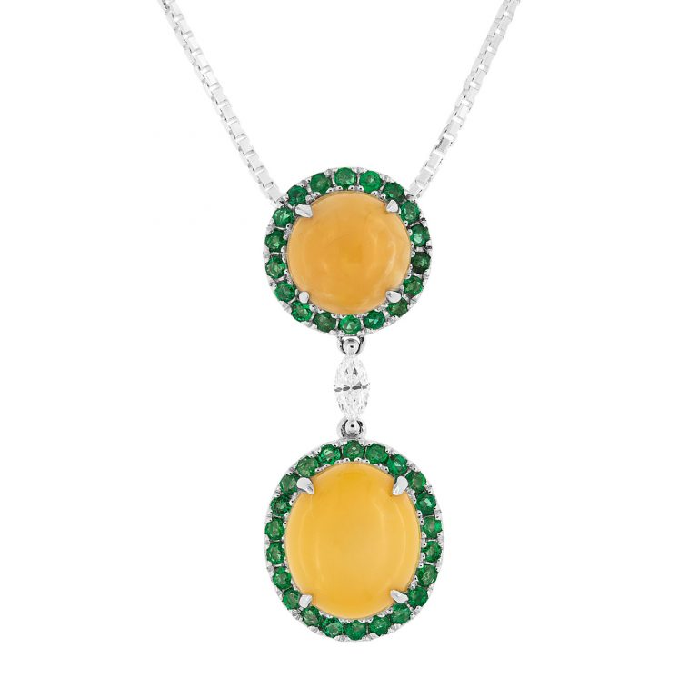 photo of Golden Delight, a conch pearl and emerald pendant by mdg