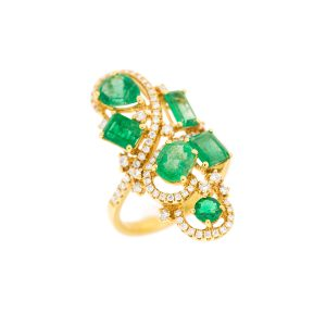 assorted cut emeralds and diamond ring in yellow gold
