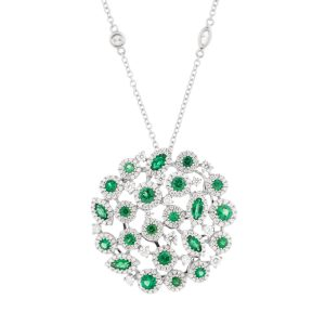 fancy diamond and emerald necklace in white gold by carnation designs