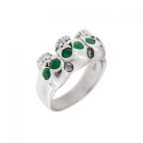 emerald skull ring in white gold