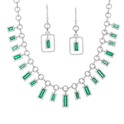 matching emerald and diamond necklace and earrings by marcial de gomar
