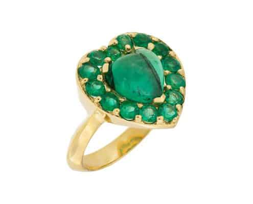 Heart Emerald Halo Ring