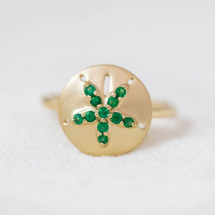 Emerald Sand Dollar Ring