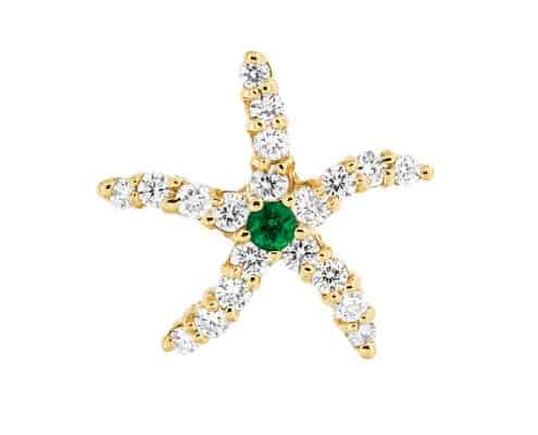 Diamond & Emerald Starfish Pendant