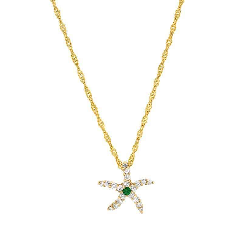 Diamond & Emerald Starfish Pendant on chain