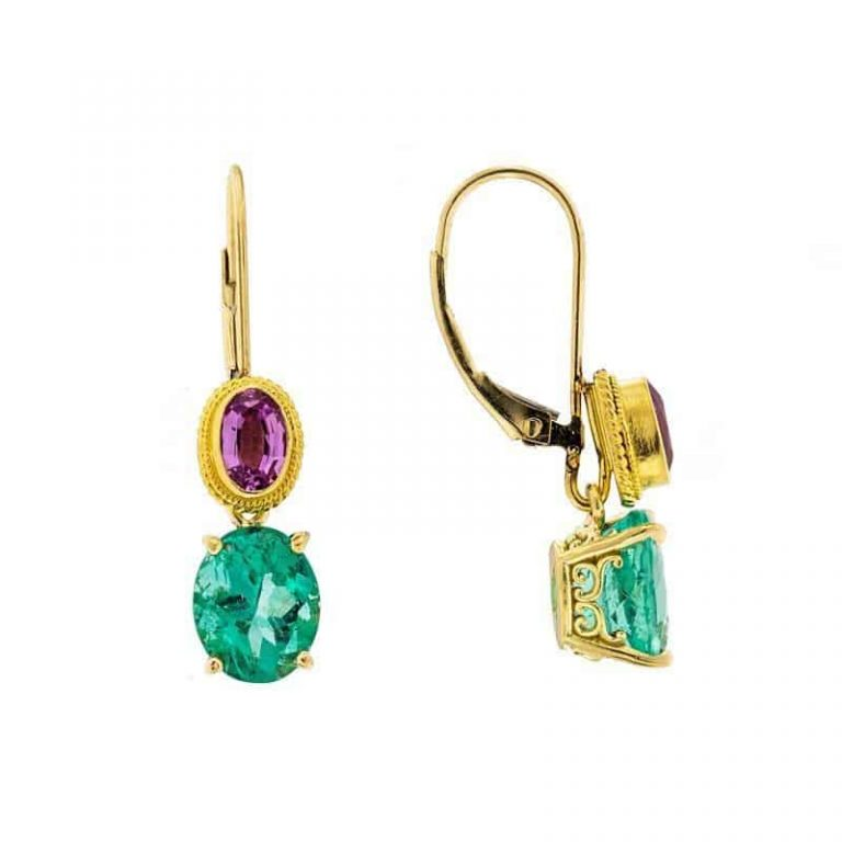 Emerald & Pink Sapphire Earrings front and side view