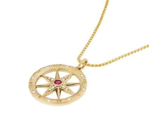 Red Beryl Compass Rose Pendant on chain side