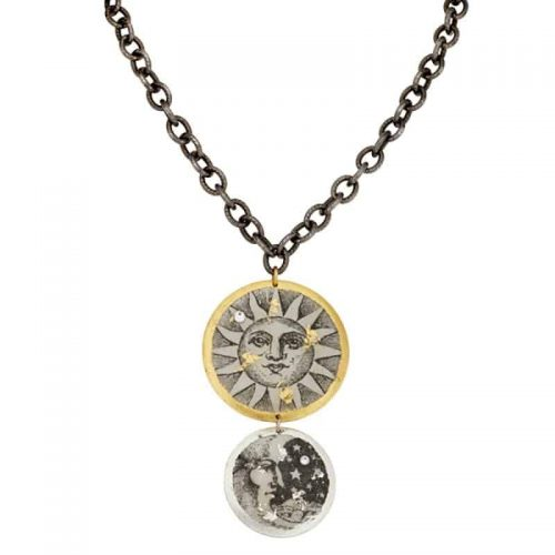 Sun and Moon Double Disc Necklace with Gunmetal Chain by Evocateur